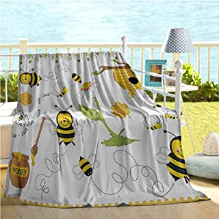 Mademai Collage Decor Home Decor,Flying Bees Daisy Honey Chamomile Flowers Pollen Spring Themed Animal Print,Kids Blanket Yellow White Black 60