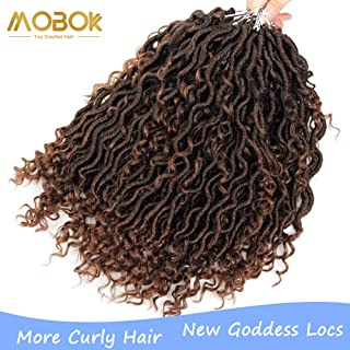 MOBOK 6packs NEW Goddess Locs Crochet Hair 14 Inch Pre-Looped Skinny River Fauxs Locs Wavy Crochet With Curly Hair In Middle And Ends (14inch, T30)