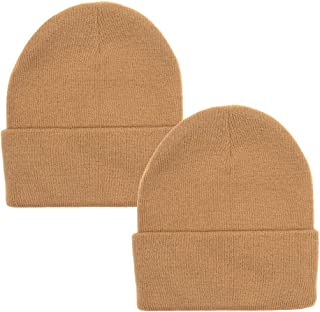 2 Pack Classic Solid Color Ski & Winter Cuff Beanie Skull Cap for Men or Women