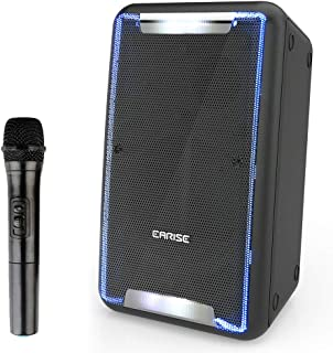 EARISE DT21 Portable Bluetooth PA System Speaker with Wireless Microphone, Rechargeable DJ Karaoke Machine with LED Lights, Recording, Shoulder Strap, Guitar Input, FM, AUX/USB