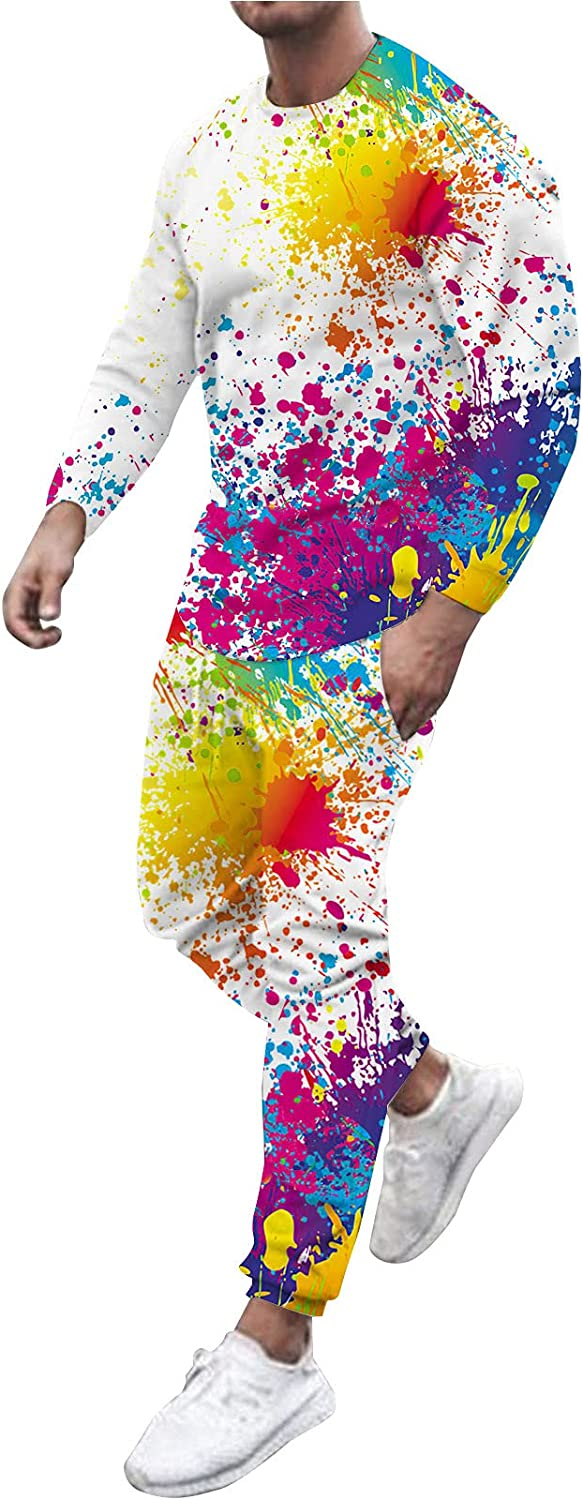 Sport Suit for Men Tops Jogger Pants Outfit Fashion Graffiti Printed Long Sleeve Pullover Blouse Shirts Trouse Set