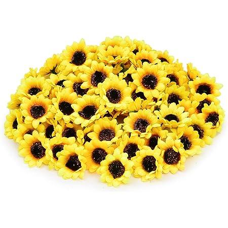 "KINWELL 100pcs Mini Artificial Silk Yellow Sunflower Heads 1.8/"" Fabric Floral"