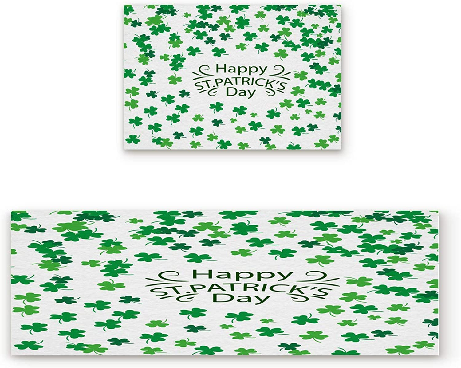 Aomike 2 Piece Non-Slip Kitchen Mat Rubber Backing Doormat Happy St Patrick's Day Simple Shamrock Pattern Runner Rug Set, Hallway Living Room Balcony Bathroom Carpet Sets (19.7  x 31.5 +19.7  x 63 )