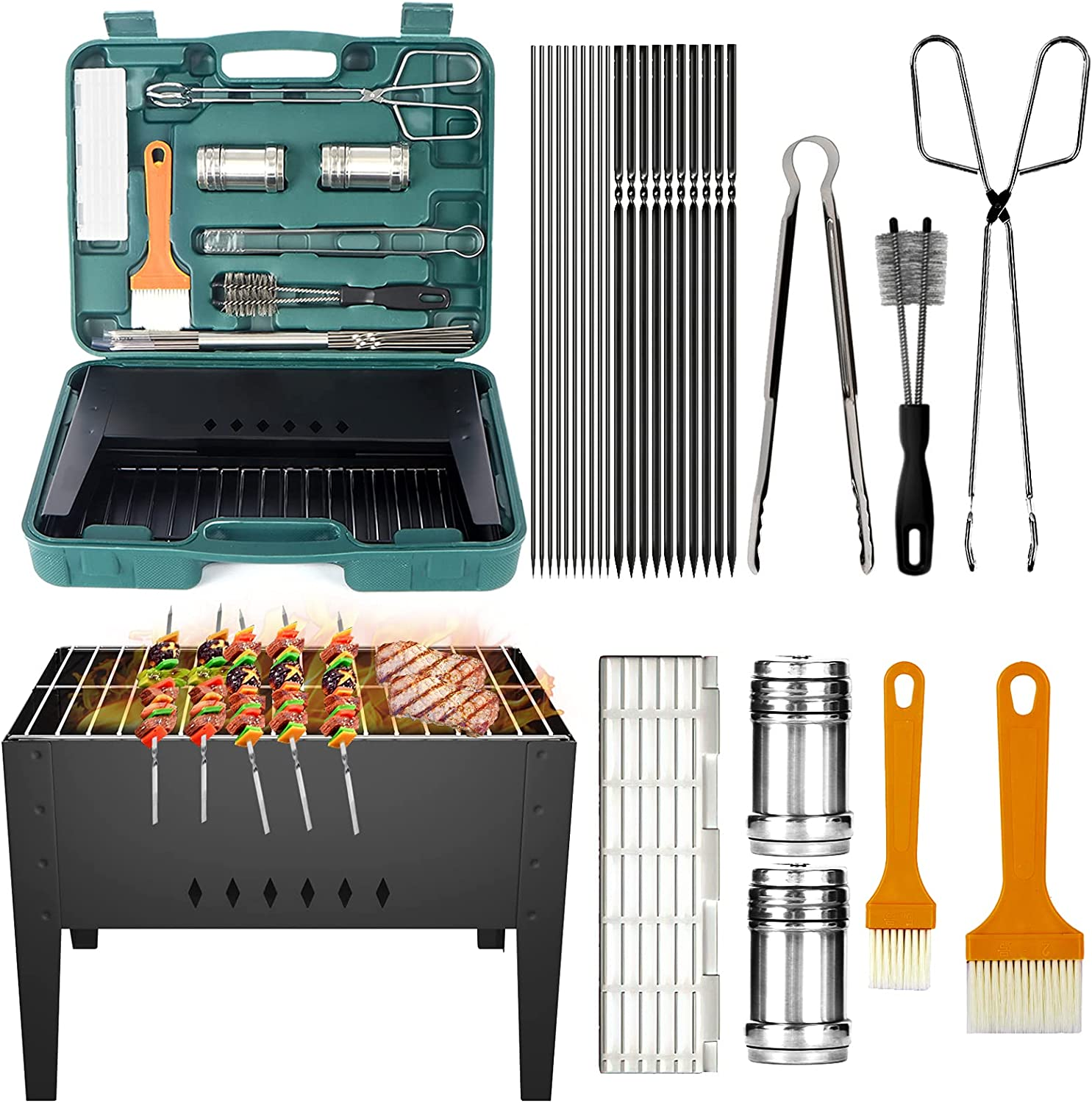 Camzezy Portable Folding BBQ Grill Little High quality 29 C Pieces - free shipping