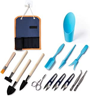 Bonsai Tree Tools Kit Storage Pocket,13PCS Succulent Transplanting Tools Set,Gardening Tool Set for Indoor
