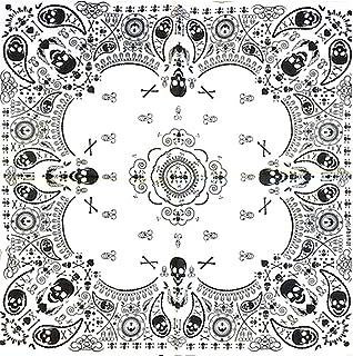 KUSTOM FACTORY - Bandana con teschio, 55 x 55 cm, colore: Bianco
