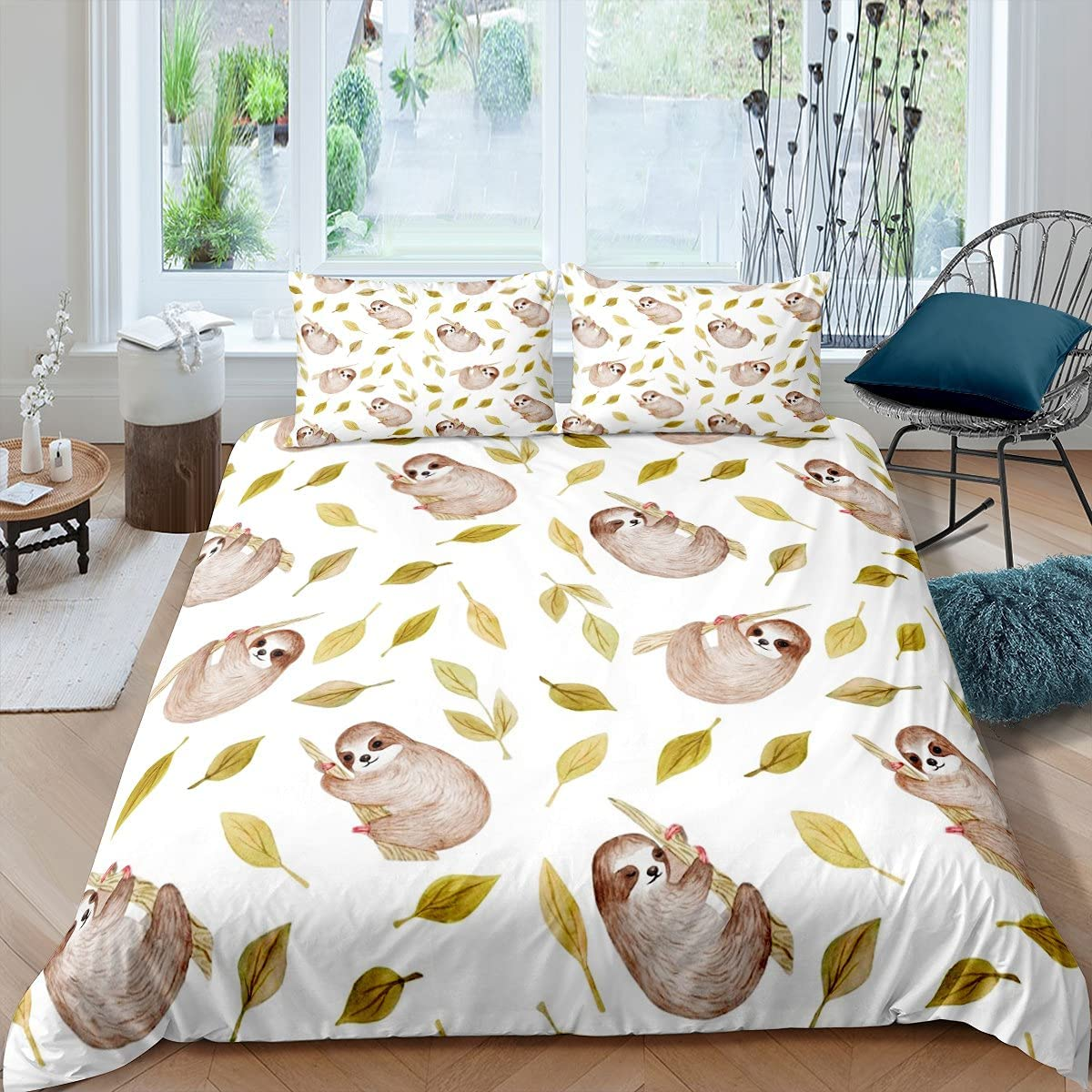 Erosebridal Sloth Comforter Cover Max 81% OFF Cute Animal Classic Duve Cartoon Theme