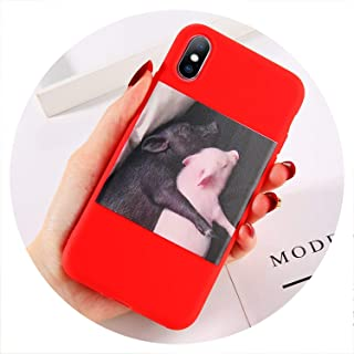 Soft Silicon Cover for iPhone 6 7 8 Plus X XR XS Max Cartoon Pig Love Cases for iPhone 6 6S Plus Soft Back Cover Coque,T3,for iPhone XR