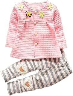 Baby Girls' Toddler Kids Long Sleeve Shirt Top Pants Clothing Set Outfits
