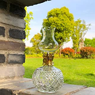 Antisue Oil Lamp Antique Shape Clear Glass with Gold Colored Wick Holder Height Circa 18,5 cm