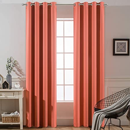 Amazon Com Yakamok Thermal Curtains Blackout Curtain Panels Room Darkening Solid Grommet Top Window Drapes For Dedroom 2 Tie Backs Included 52x84 Inch Coral Orange 2 Panels Kitchen Dining