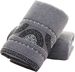 STOUUW 100% Cotton Hand Towels,14x30 Softy Classic Finger Towels for Bathroom,Set of 2 Luxury Towels(Semicircle, Grey)
