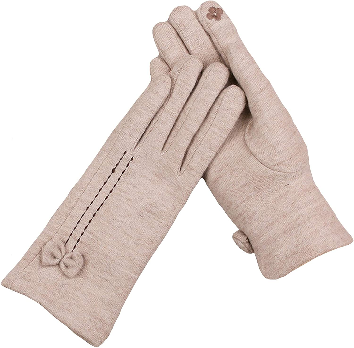 ZHANGYAN Gloves Winter Ladies Gloves Plus Velvet Thick Warm Gloves Driving and Riding Touch Screen Gloves Student Cute Winter Gloves (Color : Beige)
