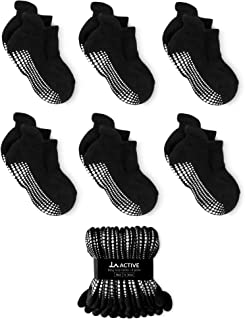 Grip Ankle Socks - 6 Pairs - Baby Toddler Infant Newborn Kids Boys Girls Non Slip/Anti Skid