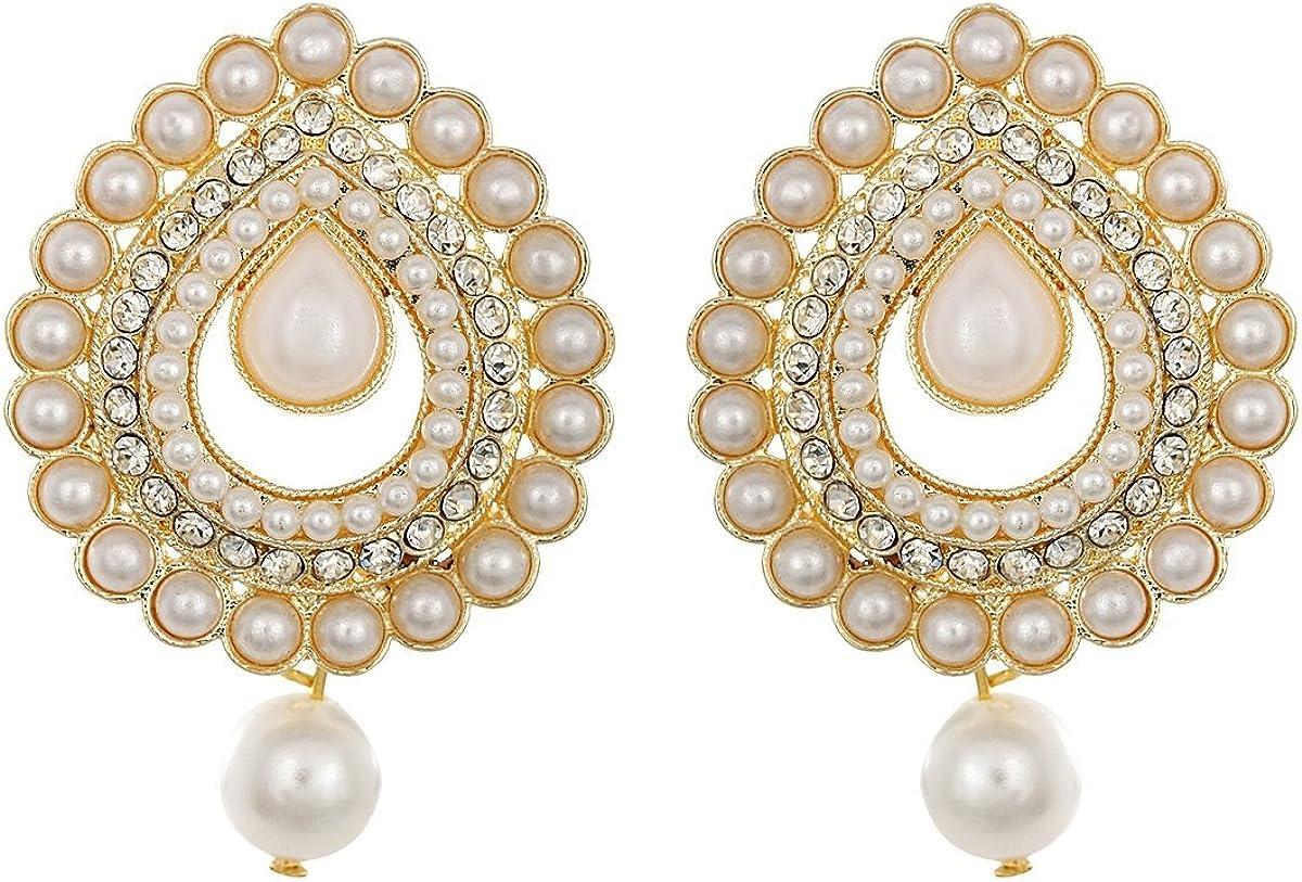 Crunchy Fashion White & Golden Pearl Drop Earring