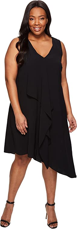 Plus Size Asymmetrical Front Drape Dress