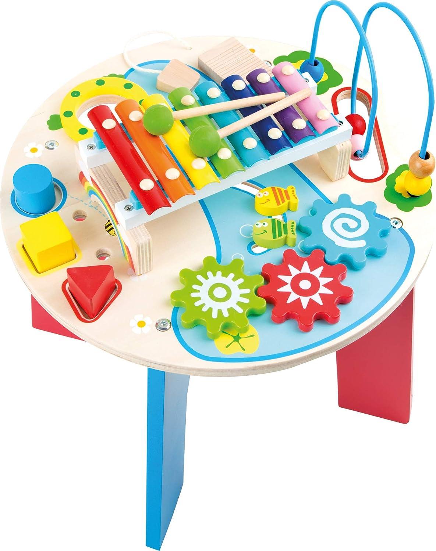 10321 Tavolo musicale e motorio  2 in 1  smtutti foot in legno, con anello motore, gioco con formine, xilofono, a partire da 1,5 anni