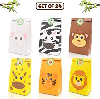 Jungle Safari Animals Favor Goodie Bags Zoo Animals Birthday Treat Goody Gift Bags for Kids Baby Shower Birthday Party Favor Decorations Supplies Set of 24