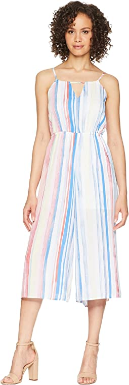 "Lovy ""Watercolor Stripe"" Printed Cropped Jumpsuit"
