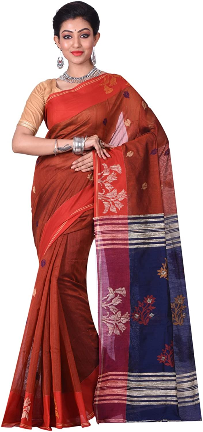 Exclusive Indian Ethnicwear Matka Silk Red and bluee Coloured Bengal Handloom Saree