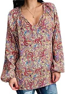 Macondoo Women Long Sleeve V Neck Plain Print Blouse T Shirts