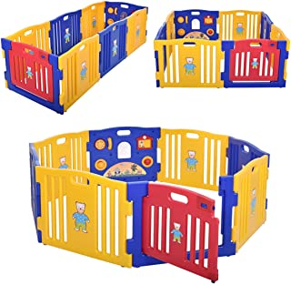 JAXPETY Baby Playpen Kids 8 Panel Safety Play Center Yard Home Indoor Outdoor New Pen (Blue and Yellow)