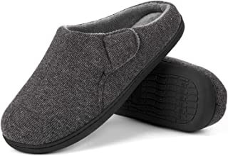 ULTRAIDEAS Men's Comfort Memory Foam Terry Cloth Slippers House Shoes with Adjustable Flap Closure