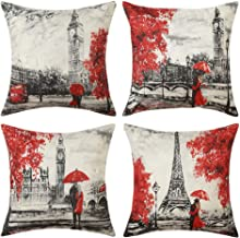 MIULEE Pack of 4 Valentine's Day Pillow Covers Paris Love Series Eiffel Tower Big Ben Pattern Throw Pillow Covers Decorative Square Couple Cushion Cases for Sofa Bedroom Car 18x18 Inch