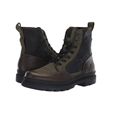 Frye Scout Boot (Olive Multi Antique Pull-Up/Waxy Canvas) Men