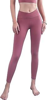 ANIMQUE Leggings de yoga para mujer, con diseño cruzado en el vientre, fitness, cadera, push-up, superelásticos, para corr...