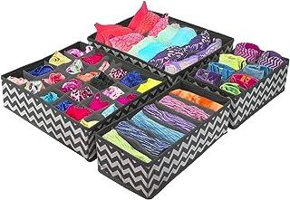 SKYFUN (LABEL) Foldable Fabric Closet Dresser Organizer Storage Box Room Underwear,Bra,Ties,Belts,Socks,Tank Tops, Lingerie,Closet,Wardrobe- Set of 4-Grey