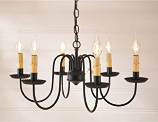 Irvin's Country Tinware 9132BL - Sheraton 6 Light Chandelier with Satin Black Finish
