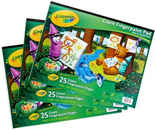 """Crayola 3 Giant Fingerpaint Pads, Each 25 Pages, 16"""" X 12""""Gift, 3 Pack, Easter Basket Stuffers, Gift"""