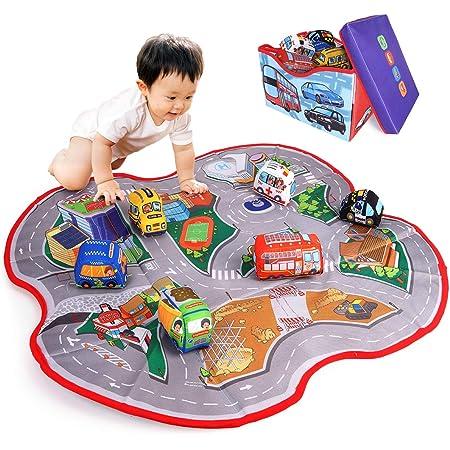 ADULi 赤ちゃんおもちゃ ベビーおもちゃ 布のおもちゃ 知育玩具 車おもちゃプレイマット(含む6おもちゃの布車) 創造できるカーシティ 2IN1布の車玩具 ベビープレイマット 収納ボックス ベビー 子供おもちゃ ベビーの屋内活動パッド 布車ゲーム 子供の誕生日ギフト 祝いプレゼント クリスマスプレゼント
