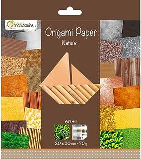 Avenue Mandarine 52503MD - Un paquet de 60 feuilles Origami 20x20 cm 70G (30 motifs x 2 feuilles) et une planche de sticke...
