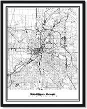Susie Arts 11X14 Unframed Grand Rapids Michigan Metropolitan City View Abstract Street Map Art Print Poster Wall Decor V259