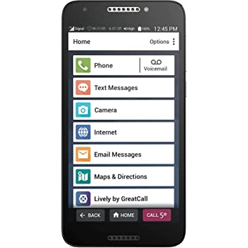 Jitterbug Smart2 No-Contract Easy-to-use 5.Smartphone for Seniors by GreatCall,Black