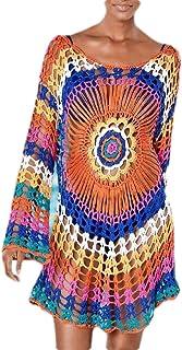 Women Long Sleeve Crochet Flower Hollow Out Beach Mini Dress Bkini Cover Up