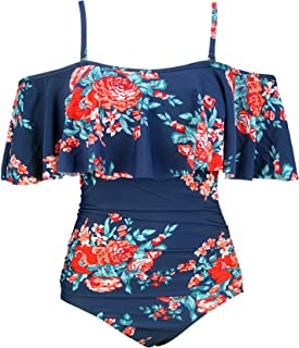 COCOSHIP Women's Retro One Piece Flounce Layered Bather Off Shoulder Swimsuit Ruffled Pin Up Swimwear(FBA)