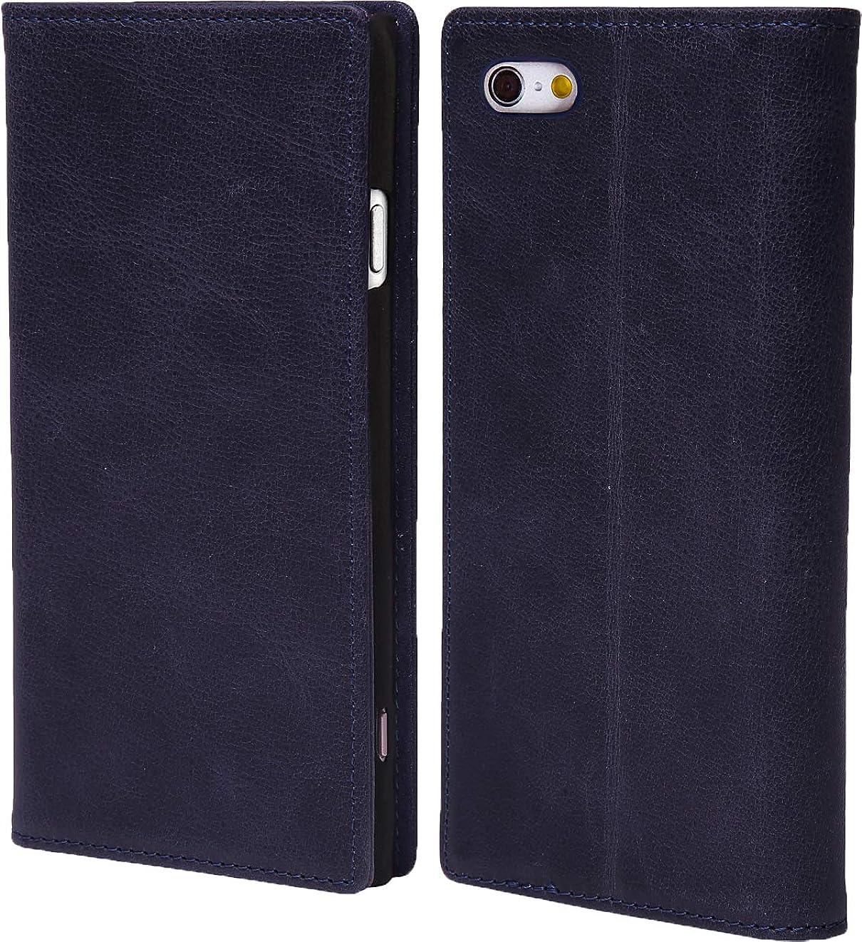 休憩また明日ね出発steady advance 最高級 本革 (牛革) iPhone5 iPhone SE アイフォン 用 スマホ ケース 手帳型 < 硬度 9H 強化 ガラスフィルム > セット マグネット式 (iPhone 5 SE, スマルトブルー)