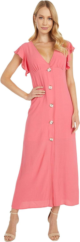 BB DAKOTA Women's That's Amore Textured Crepe Button Front Midi Dress