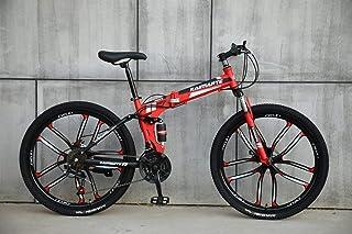 Novokart-Plegable Deportes/Bicicleta de montaña 24/26 Pulgadas 10 Cortador, Rojo