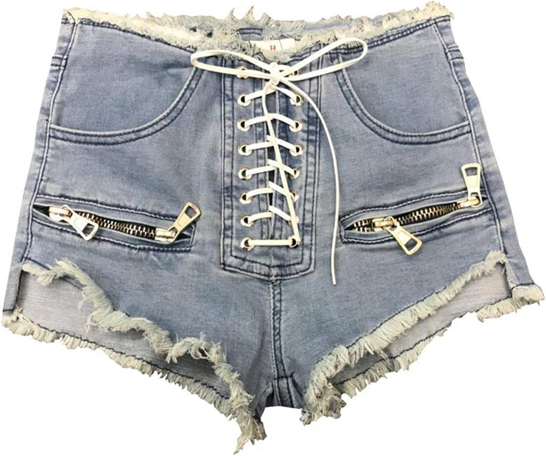 Lovely-Star L215 Damen-Shorts mit Reißverschluss, hohe Taille, Blau / Schwarz / Grau, zum Schnüren Schwarz