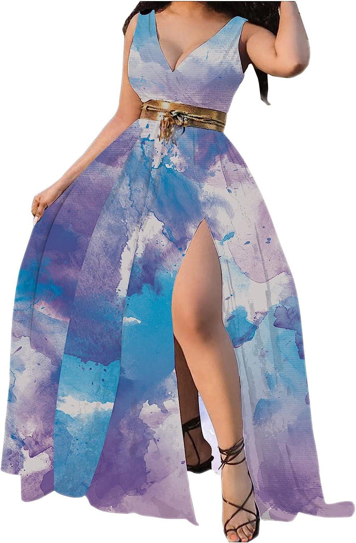 ORT Women's V Neck Sexy Polka Dot Print High Split Long Maxi Dress Summer Casual Sleeveless Beach Boho Vintage Sundresses