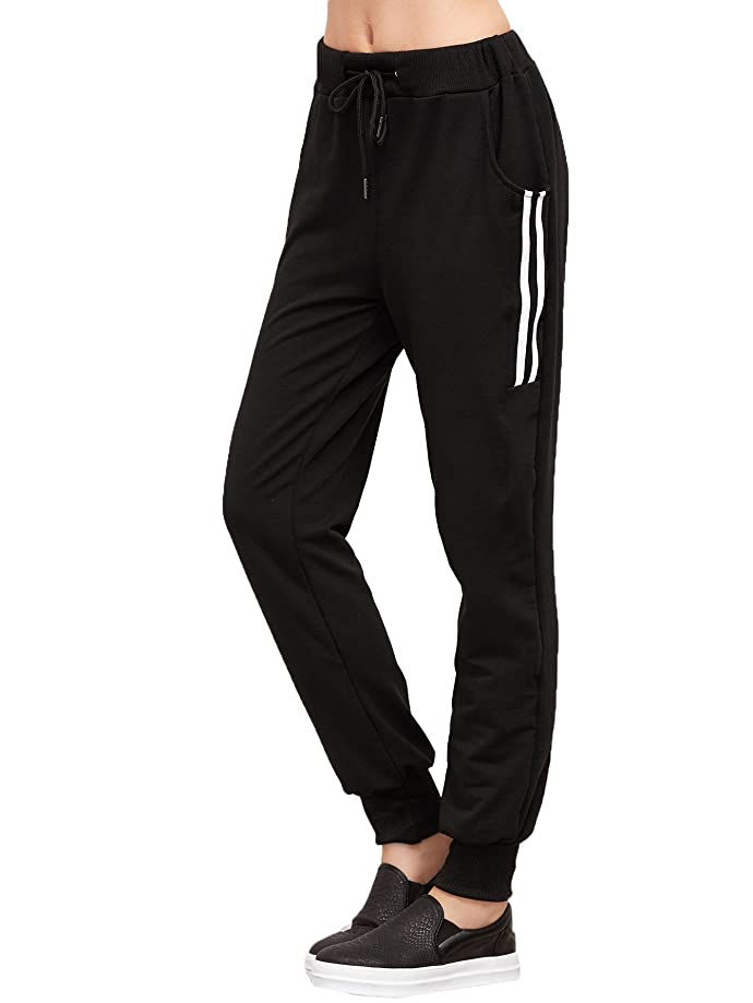 SweatyRocks Women's Drawstring Waist Striped Side Jogger Sweatpants with Pocket