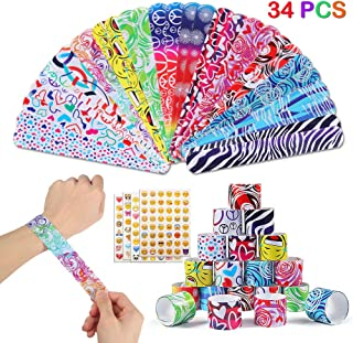 34PCS Slap Bracelets Halloween Party Favors Pack (15 Designs) with Colorful Hearts Animal Emoji Print Design Retro Slap Bands for Kids Adults Christmas Birthday Classroom Gifts with 4 Sheets Stickers