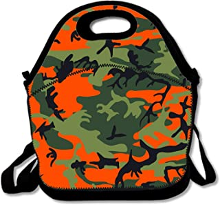 flys Insulated Neoprene Lunch Bag/Lunch Box/Lunch Tote/Picnic Bags Cooler Warm Pouch Lightweight Handbag Gourmet Food Containers for Women, Men,Girls, Boys, Kids - Green Orange Hunter Camo Print