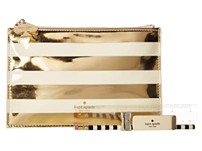 Kate Spade New York Stripe Pencil Pouch (Gold) Travel Pouch