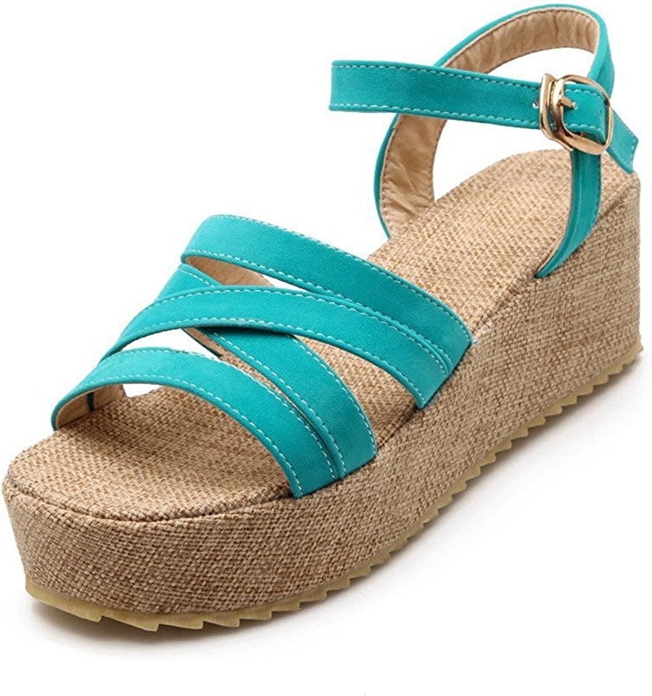 Ompson Women's Solid Imitated Suede Kitten-Heels Open Toe Buckle Platforms & Wedges