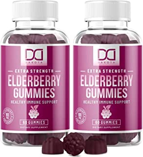 Elderberry Gummies with Zinc Vitamin C for Adults Kids for Sambucus Black Elderberry Immune Support System Vitamins, Elder...